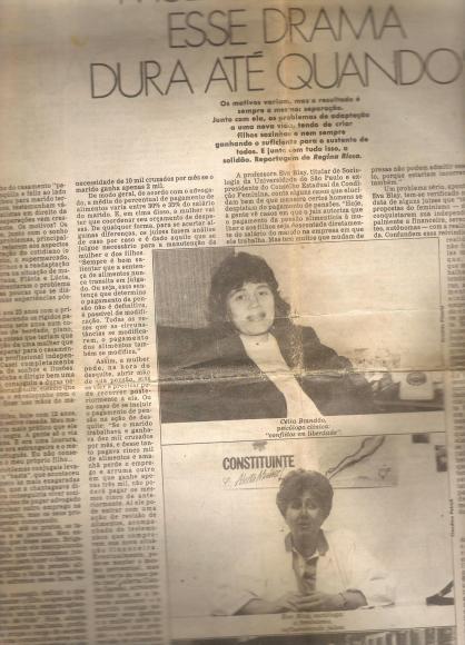 Foto do Jornal folha de São Paulo de 1986 _ Entrevista Celia Brandão